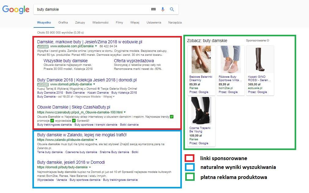 Pierwsza strona wyników Google